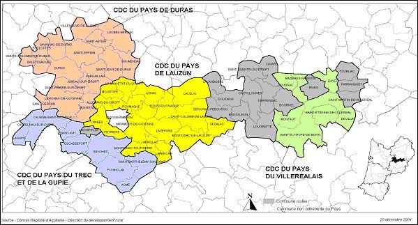 Carte du pays du dropt